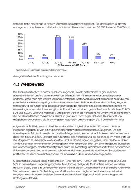 businessplan tonstudio muster vorlage zum