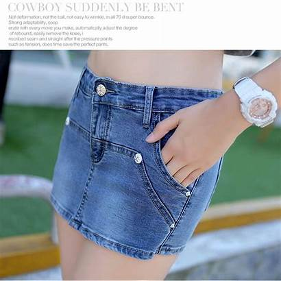 Booty Shorts Denim Deep Skirt Mini Cotton