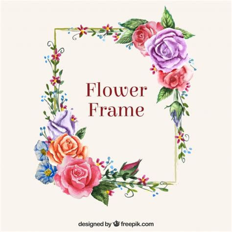 modern frame  colorful flowers vector