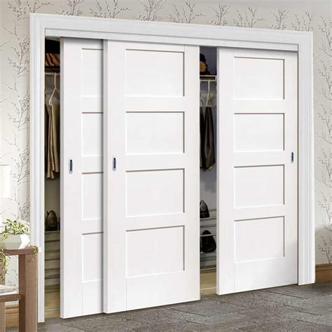 3 Door Wardrobe Closet by Bespoke Thruslide Shaker 4 Panel 3 Door Wardrobe And Frame