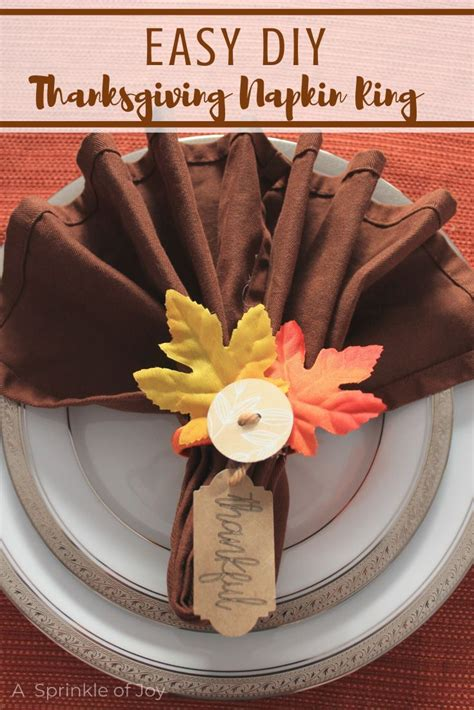 easy diy thanksgiving napkin rings  images easy