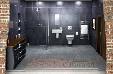 Modern Bathroom Heating by In Floor Heating System In A Bathroom Tile Bath