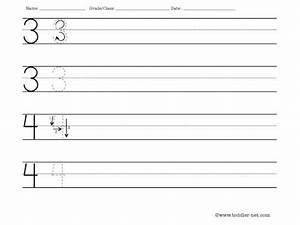 Worksheet to practice writing numbers 3 and 4