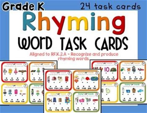 rhyming words task cards and recording sheets on