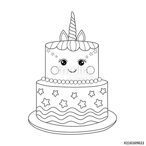 Unicorn Cupcake Kleurplaat by Quot Unicorn Cake Coloring Book For Vector Illustration