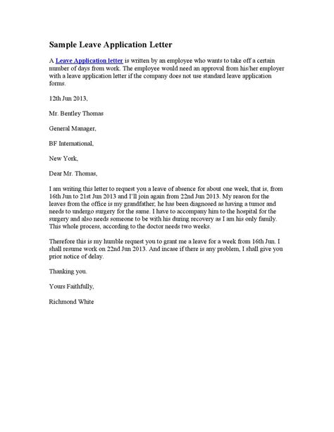 sample leave application letter   letters issuu