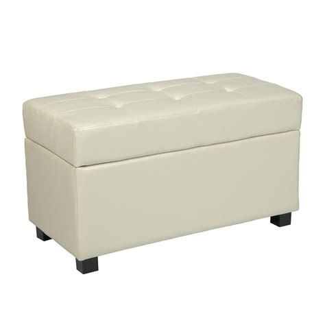 cream colored leather ottoman shop office star metro casual cream faux leather storage