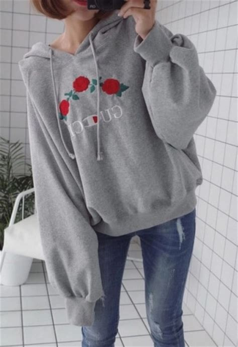 Jacket grey grey sweater tumblr tumblr outfit hoodie embroidered gucci champion ...