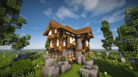 cozy  medieval house timelapse  minecraft building