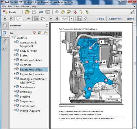 Audi Q5 Interior Wiring by Audi Q5 2012 2013 2014 2015 Repair Manual Servicemanualspdf