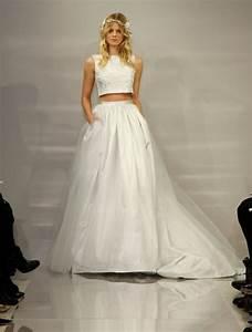 trend alert crop top wedding dresses for fall brides With crop top wedding dress