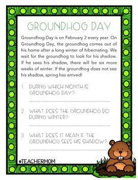 groundhog day reading comprehension  denise hill tpt