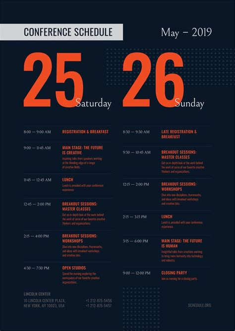 conference schedule poster template event schedule