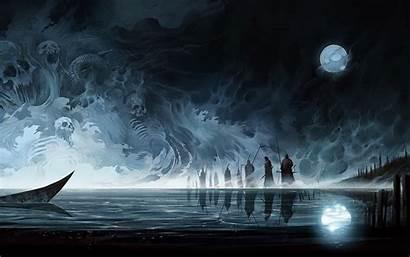 Moon Dark Painting Wallpapers Skulls Night