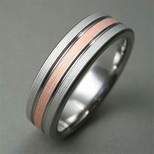 Men39s Wedding Ring Titanium Copper Comfort Fit