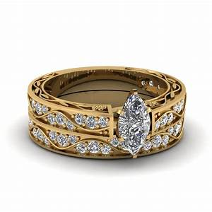 marquise cut antique diamond filigree wedding set in 14k With marquise diamond wedding ring sets