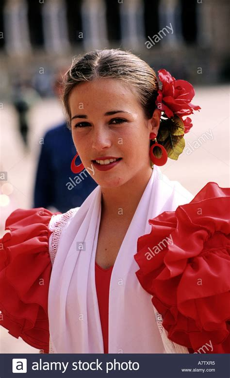 andalusian spain andalusia woman sevilla alamy traditional young wearing