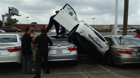 woman crashes car  test drive