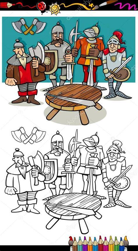 chevaliers de la table ronde coloriage image vectorielle 34876817