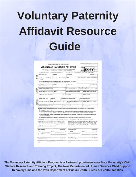 state of iowa paternity affidavit form paternity affidavit program child welfare research and