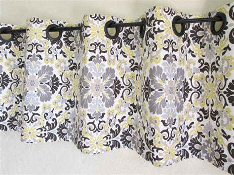 yellow and gray kitchen curtains grommet valance 50 x16 waverly folk damask by ellaseeh