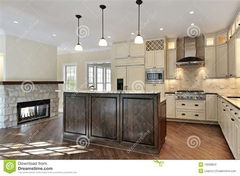 Kitchen With Stone Fireplace Stock Photo   Image of