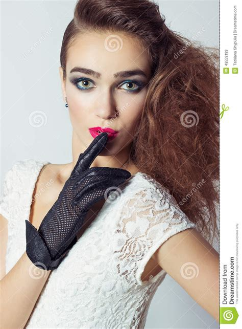 Beautiful Elegant Girl Model With Jewelry Makeup And