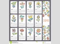 Calendar 2016 With Doodles Flowers,Monthly Cards Stock