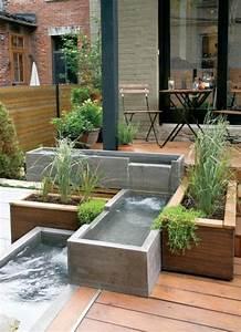 moderne terrassengestaltung mit holzboden teiche aus beton With französischer balkon mit garten terrassengestaltung