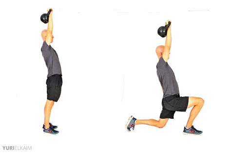kettlebell lunge press reverse exercises weight workout body loss muscles worked shoulders printable beginners