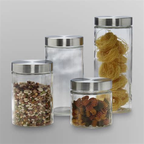 glass canister set for kitchen anchor hocking 4 piece glass canister set