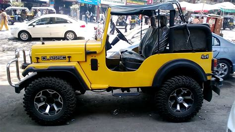 indian jeep modified amazing mahindra classic jeep 4x4 modified in yellow color