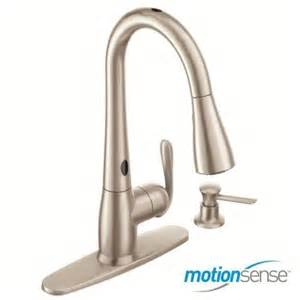 moen kitchen faucets home depot moen haysfield single handle pull sprayer kitchen faucet featuring motionsense in spot