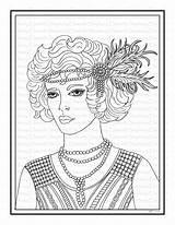Roaring Coloring Twenties Flapper Printable Steph sketch template