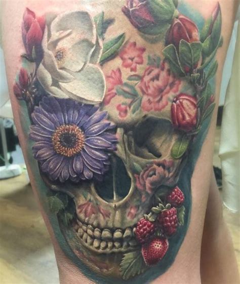 flowers  skull tattoo  side thigh