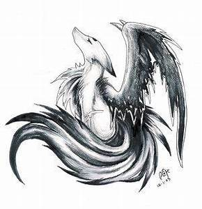Awesome drawing of a winged wolf... | wolf drawings ...