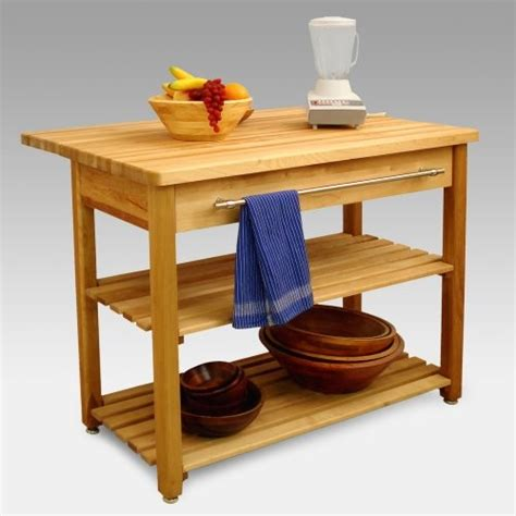 Contemporary Harvest Table Drop Leaf Kitchen Island