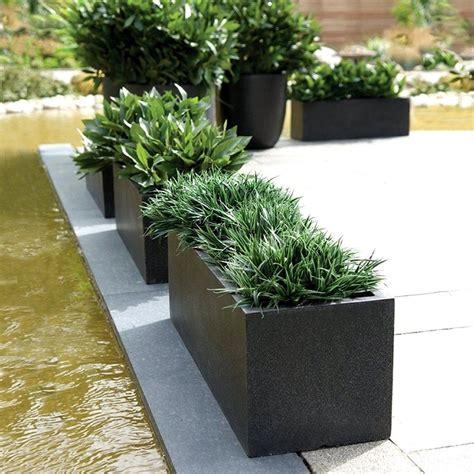 Modern Outdoor Planters by Rectangular Planters Cadix Black Low Rectangular