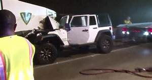 Man Injured After Jeep Crashes Into Street Sweeper Vehicle
