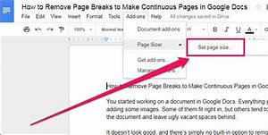 How to remove page breaks to make continuous pages in for Google docs continuous page