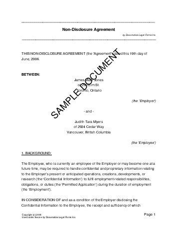 confidentiality agreement canada legal templates