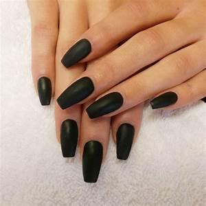 Image Gallery matte black acrylic nails