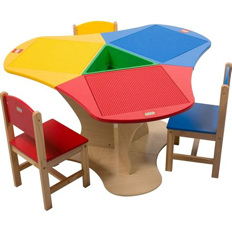 lego table triangle with storage and three chairs