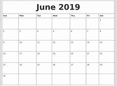 June 2019 Printable Calendar Free