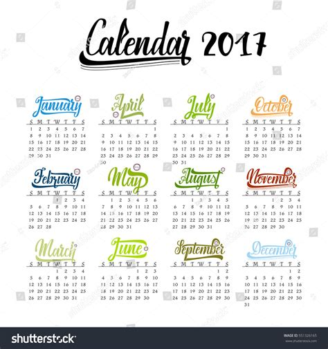 Calendar Month Template Hand by Calendar 2018 Trendy Template Handdrawn Lettering Stock