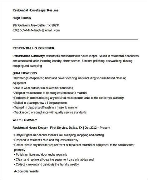 Resume For Housekeeping by Free Residential Housekeeper Resume