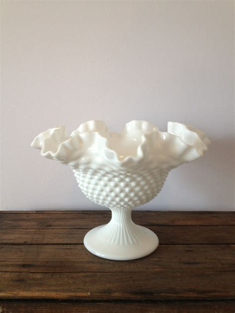 vintage white hobnail milk glass l vintage fenton white hobnail milk glass pedestal bowl