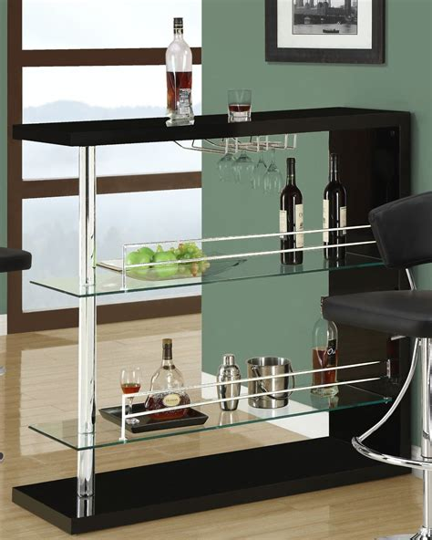 Home Bar Glass by Coaster Bar Table With Two Glass Shelves In
