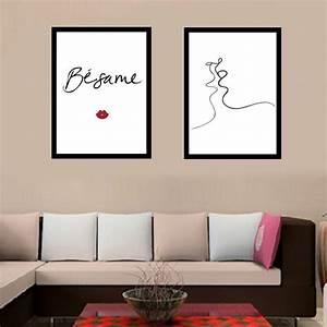 Moderne Poster Fürs Wohnzimmer : modernen minimalistischen schwarz wei linien k ssen liebe leinwand kunstdruck malerei poster ~ Bigdaddyawards.com Haus und Dekorationen