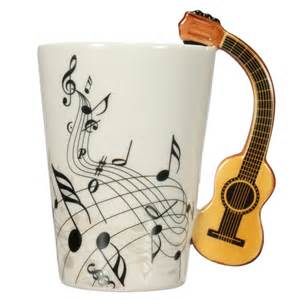 Kitchen Cart With Stainless Steel Top by Porcelain Guitar Handle Shape Music Note Cup Coffee Tea